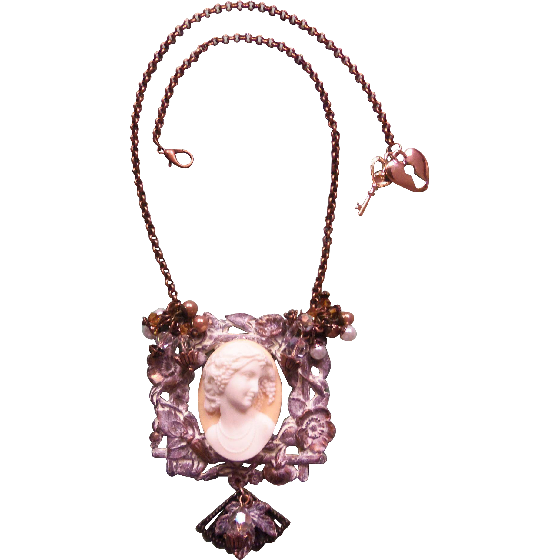 Cameo Necklace One of A Kind Artisan Shabby Chic Peach Lady