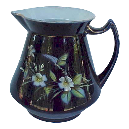 Antique Cobalt Pitcher Hand Painted Enameled Butterfly Florals