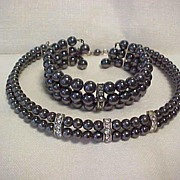 Vintage Pearl Gray Choker and Bracelet Set
