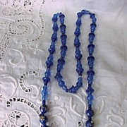 Vintage Italian Cobalt and Millefiori Bead Necklace