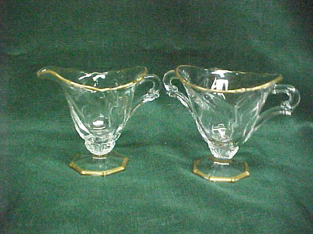 Heisey Waverly Footed Creamer and Sugar Gold Trim