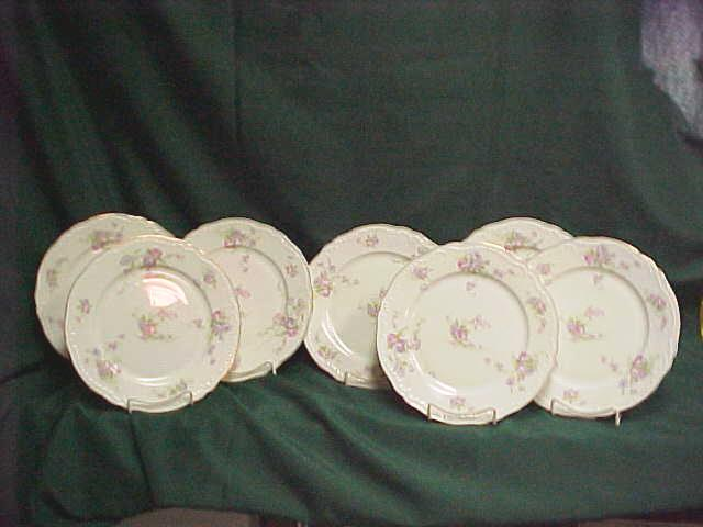 Set of 7 Theodore Haviland Limoges Dinner Plates Pink Roses  The S&ler Antiques | Ruby Lane & Set of 7 Theodore Haviland Limoges Dinner Plates Pink Roses : The ...