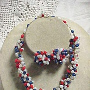 Vintage Red White and Blue Glass Bead Demi Parure