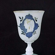 Early Opaline Glass Goblet Hand Painted Neo Classical