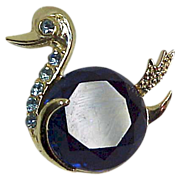Vintage Swan Duck Pin Rhinestones Large Blue Chaton