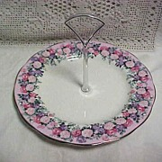 Royal Albert China Rose Garland Tidbit with Center Handle