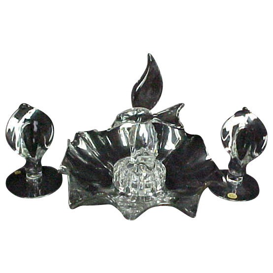 4 PC Cambridge Glass Console Set Seagull Birds Flower Frog