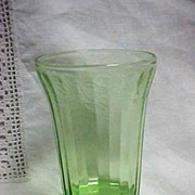 Jeanette Glass Depression Green Cherry Blossom Tumbler