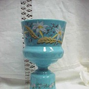 Large Victorian Blue Opaline Glass Vase Hand Painted