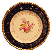 Royal Crown Derby Cabinet Plate Cobalt Gold Guilt Hand Painted Floral