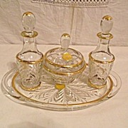 Jeanette Glass Feather Design Gold Trim 7 PC Dresser Set Vanity