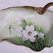 Beautiful Hand Painted Limoges Free Form Dish w/ Handle Signed M Matti