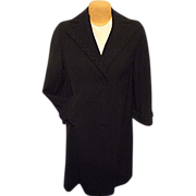 Rothmoor Womens Gabardine Worsted Wool Vintage Black Dress Coat Med Braid Trm