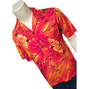 1960's Tia Made in Hawaii Mens Shirt Orange Wild Floral Med EXCELLENT