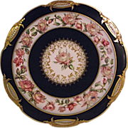 Lovely Haviland Co Limoges France Cabinet Plate Cobalt Yellow Pink Roses Gold