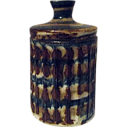 Mid Century Pottery Bottle Vase Hand Thrown Made Blue Brown Ribbed