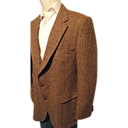 Vintage Harris Tweed Mens Brown 100% Scottish Wool Blazer Sport Coat 42 Reg
