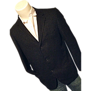 Brent Mens Vintage Wool Blazer Sport Coat Black Open Weave 40R