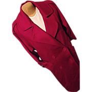Vintage George David Fashions Womens Red 100% Wool Long Dress Coat M Lg