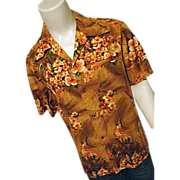 Vintage 1960's Ui Maikai Mens Hawaiian Shirt Orange Lg XL Made in Hawaii
