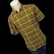 Vintage 1960's Pendleton Woolen Mills Mens 100% Wool Green Plaid Shirt Med