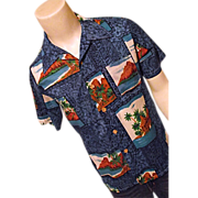 Vintage 1970's Royal Islander Mens Hawaiian Shirt Polyester Blue Med Tiki