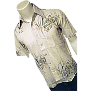 BRAND NEW Vintage NOS Mens Shirt BVD Cotton Bld Birds Small 14-1/2