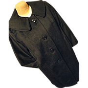 FANTASTIC Vintage Womens Swing Black Coat Wool Cashmere Lg Rolled Collar 40's 50's
