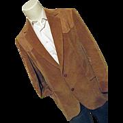 Vintage Pen West Pendleton Men Camel Corduroy Blazer Sport Coat Suede 42 Long