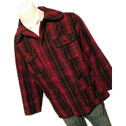 Vintage Woolrich Mens Red Buffalo Plaid Wool Bld Timber Cruiser Jacket 42