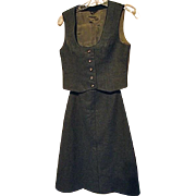 Trachtenhaus Golimbeck Womens Green 100% Felted Wool Skirt Vest Set