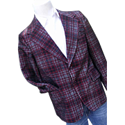 Vintage 1960's McGregor Mens Plaid Woven Polyester Blazer Sportcoat 40R Red