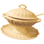 Antique Arthur Wilkinson Royal Staffordshire White Ironstone Large Covered Tureen 4 PC Wheat