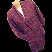 Vintage Elisabeth Jonsson Brown Womens Mohair Swing Sweater Coat Scandanavian Lg