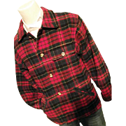 Vintage 1970's Eddie Bauer Mens Red Tartan Plaid Wool Bld Shirt Jacket Sm