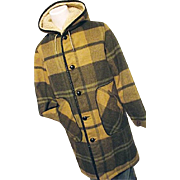 Vintage Towncraft Mens Long Wool Duffle Coat Hood Med Green Gold Plaid Sherpa