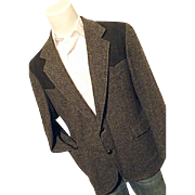 Pendleton Mens Vintage Western Black Tweed Blazer 44 Elbow Patches Wool