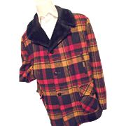 KILLER Vintage Towncraft Mens Bright Plaid Wool Car Coat Blue Faux Fur XL Long