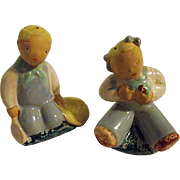 Vintage Sorcha Boru California Pottery Pr Shakers Gardening Children Boy Girl