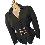 Coutour Thierry Mugler Paris France Womens Black Wool Military Jacket Cinched