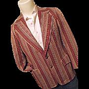 Vintage Griffon Clothes Mens Burgundy Polyester Stripe Blazer Sport Coat 40