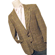 Vintage Burberry Mens 100% Pure Wool Houndstooth Tweed Blazer Sport Coat 42R