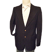 Vintage 1970's YSL Yves Saint Laurent France Mens Black Gabardine Wool Blazer