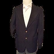 Vintage 1970's YSL Yves Saint Laurent France Mens Black Gabardine Wool Blazer