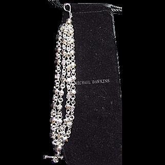 ESTATE Michael Dawkins Sterling Silver Four Link Chain Bracelet Toggle HEAVY