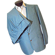 ROCKABILLY Vintage 1970' Lasso Mens Baby Blue Western 3PC Suit 46R Jacket Vest Pants