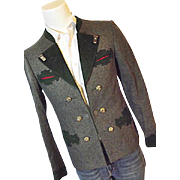 Vintage Loden Frey Austria Mens Wool Hunting Riding Dinner Jacket Stag Horn Buttons