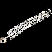 ESTATE King Sterling Silver 18K Three Strand Link Bracelet Gold Butterfly Toggle