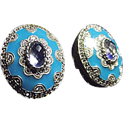 Judith Ripka 925 Sterling Silver Blue Enamel Diamonique Clip Earrings