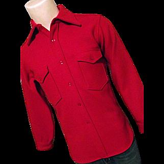 Vintage Pendleton Woolen Mills Mens Red HEAVY Shirt Jacket Hunting Sm Wool